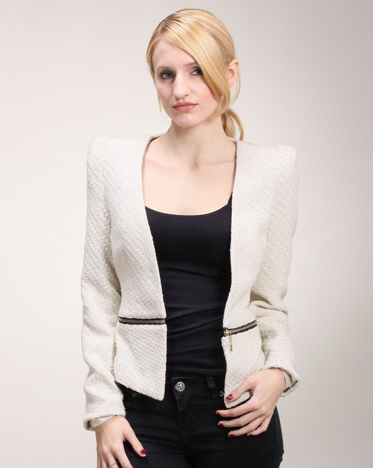 Cheryl says: If you're looking to add a classic piece to your ensemble then this jacket is the way to go. The jacket features a modern quilted pattern that is displayed all over the piece and only separated out with a creative horizontal zipper. The zipper crosses at the bottom half of the jacket while the top has pointed shoulder pads for an edgier effect.