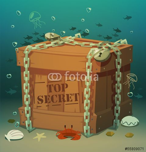 Wektor: Box in chains at the bottom of the sea