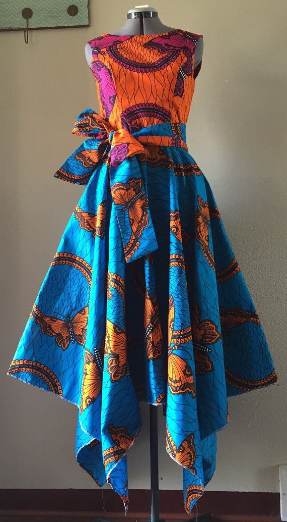 Vivid African Wax Print Maxi Dress With Asymmetric Cut Skirt and Optional Tie Belt Orange Blue Magenta Mixed Butterfly Print