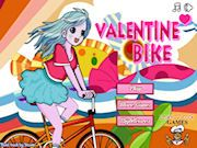 Valentine Bike Game    Valentine themed bike game for girls, ride through 10 unique levels, earn a high score and share it. in thie game you will be using the arrow keys to play, up arrow to move forward, down arrow to move backwards, left arrow controls the bike by tilting it up,rnand the right arrow controls the bike by tilting it down.  http://ezarcade.net/games/valentine-bike-game/