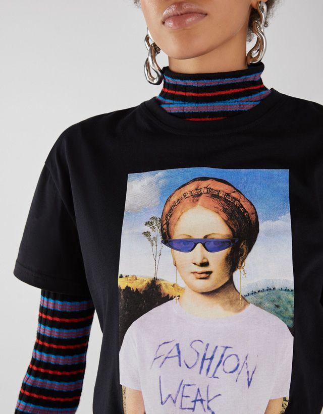 d4ea0e3abff Art print T-shirt - Bershka  fashion  trend  trendy  item  new  quote  text   print  printed  message  camiseta  tshirt  estampada  texto  text  cool   young ...
