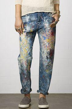 calça boyfriend despojada, com manchas de tinta - ideia para DIY