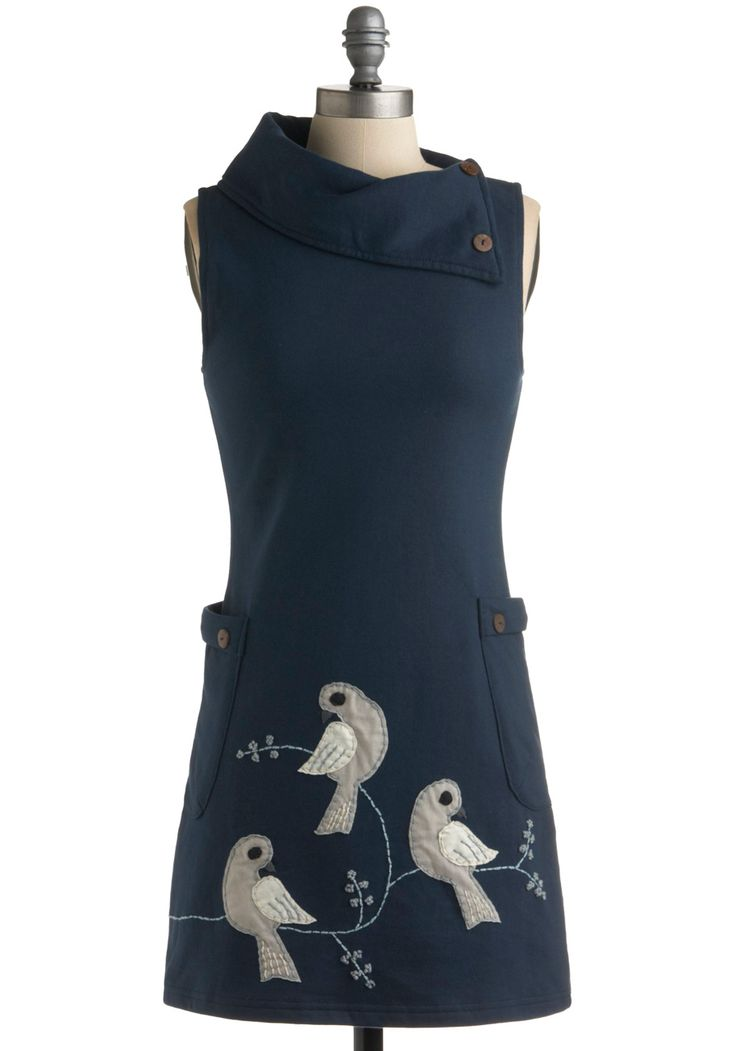 Midnight Bird Song Dress - Blue, Grey, White, Print with Animals, Sheath / Shift, Sleeveless, Casual, 60s, Embroidery, Short, Eco-Friendly, Cotton