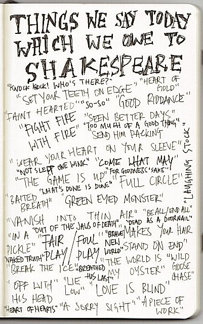 Some inspiration - things we say today that we owe to Shakespeare.