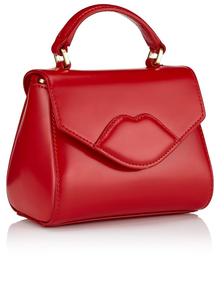 Red Leather Mini Lips Bag Lulu Guinness