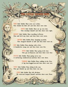 Ten Little Soldier Boys poem by Frank Green from And Then There Were None by Agatha Christie.