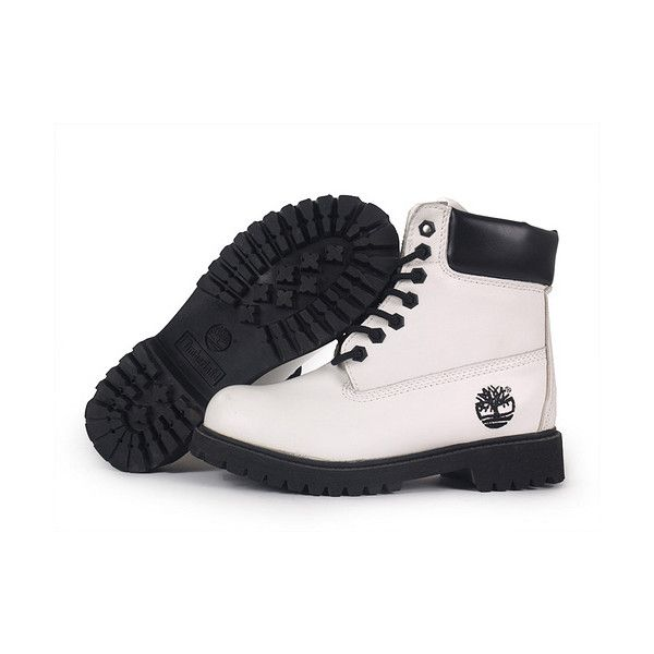 Botas Timberland Mujeres Timberland 6 Inch Boots white/black ($87) ❤ liked on Polyvore