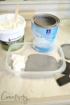 Faux cement paint treatment and recipe. Looks just like cement when it dries.