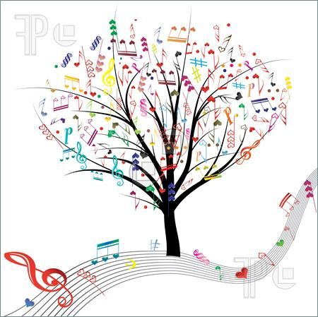 Illustration of Music tree hearts note symbol vector on wave lines. Design love element. Valentine abstract background.