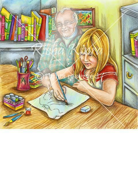 This style of illustration is done in hand painting and pencil colors have been used to give it a bright effect. The illustration is made with two characters and a little background of room which has some books and a table. The girls expressions are a serious where as the man standing behind is feeling happier after seeing what the young girl is drawing on the paper. Its a good style for any children book.