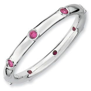 Eternity Stackable 925 Silver Ruby Mother's July Birthstone Ring... for my birthday?!