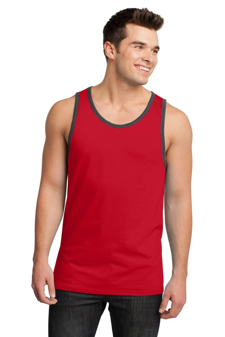 District - Young Mens Cotton Ringer Tank DT1500 New Red/ Charcoal