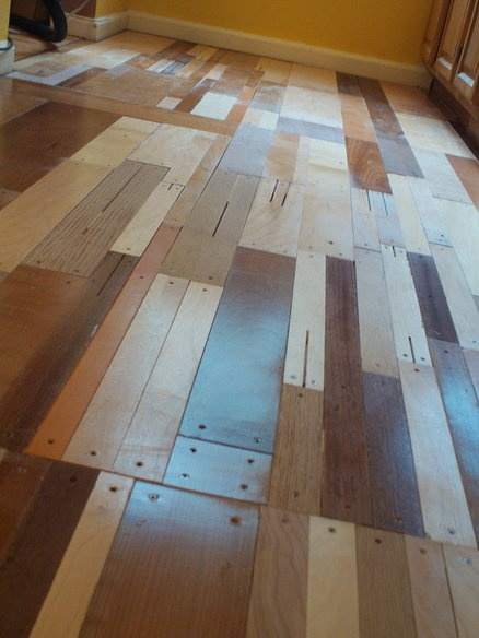 custom plywood floor patchwork design using salvaged/recycled veneer ply cut-offs