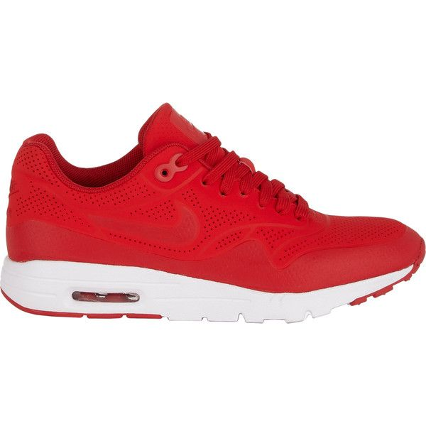 Nike Air Max 1 Ultra Moire Sneakers ($130) ❤ liked on Polyvore featuring shoes, sneakers, nike, zapatos, red, nike trainers, flat sneakers, flat shoes, red polka dot shoes and round cap