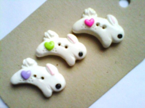Button Little Bunny  polymer clay button set   ( 3 )
