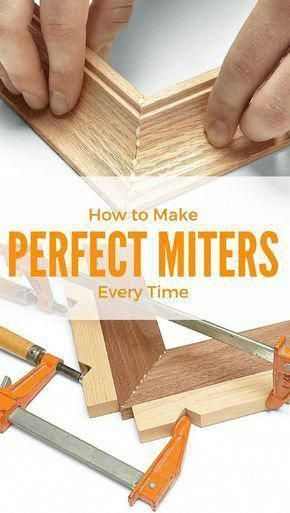 Cool Woodworking Tips - Perfect Miters Everytime - Easy Woodworking Ideas, Woodworking Tips and Tricks, Woodworking Tips For Beginners, Basic Guide For Woodworking Kids Woodworking Projects, Easy Woodworking Ideas, Woodworking Box, Woodworking Patterns, Woodworking Supplies, Popular Woodworking, Custom Woodworking, Wood Projects, Woodworking Classes