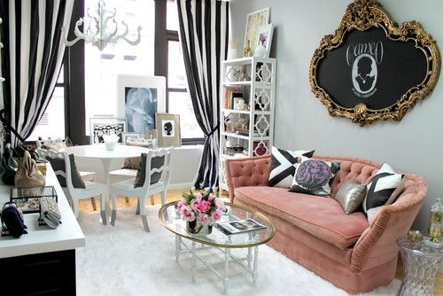 Girl Cave - The tufted blush sofa tops off the girly-vibe.