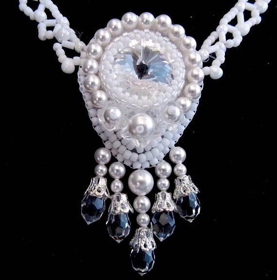 Check out Bead embroidery, Wedding jewelry ,Swarovski necklace , Seed bead necklace  ,Fashion jewelry , Swarovski jewelry, White on vicus