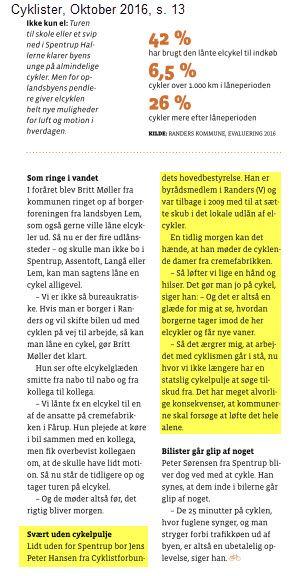 Bladet Cyklister har i oktober nummeret et tema om el-cykler, hvor den succesfulde udlånsordning i Randers fylder godt.