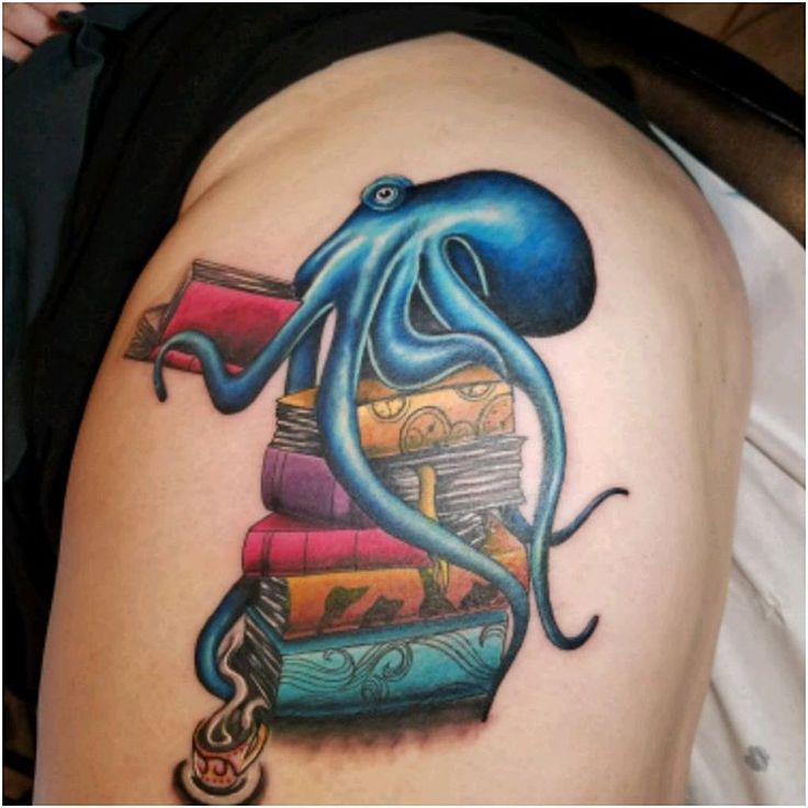 Octopus With Book Tattoo On Thigh