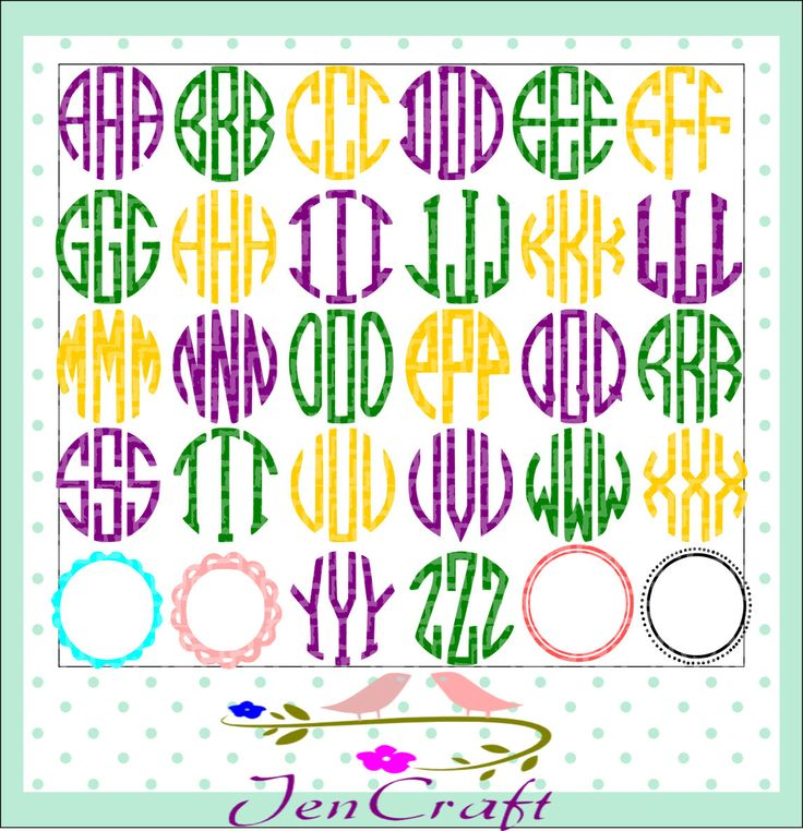 Circle monogram font SVG-Four free frames,Monogram Letters, Cut files for Cricut Silhouette, svg files, Alphabet font. Cutting Files by JenCraftDesigns on Etsy