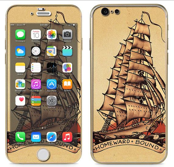 iPhone 6 ~or~ iPhone 6 Plus + : Pirate Ship Tattoo Style Sailor Ship Boat nautical - Free Shipping - NOT a HARD case - $9.95 use this coupon for 10% off:  pinterest10
