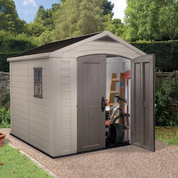 Keter 8 x 8 plastic shed. It dismantles. Not even a year old. £450. Won't be available until mid may