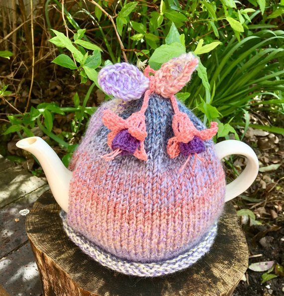 Hand Knit Fuchsia Flower Tea Cosy Fuchsia Flowers Tea Cozy Fuchsia Flower Fuchsia Flowers Tea Cosy