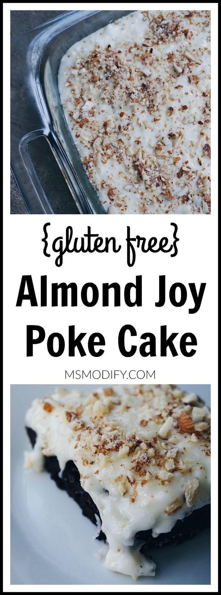 If Almond Joy candy bars are a favorite of yours, then this cake is meant for you! Chocolate, coconut and almonds all wrapped into one gluten free cake!