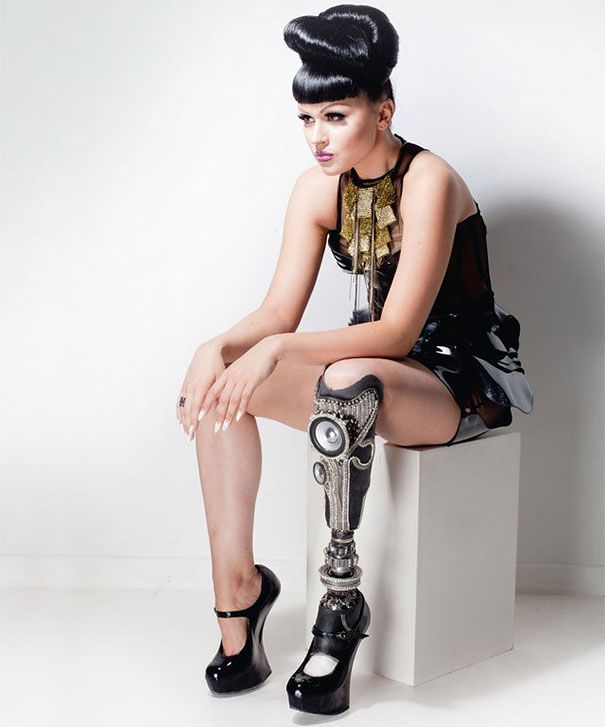 """Latvia-born singer and model Viktoria Modesta. - very interesting story and her handling of this """"disability"""" is over the top cool.  the best gift we can give our daughters is the gift of self confidence.  with that, they can conquer the world and make all their dreams a reality"""