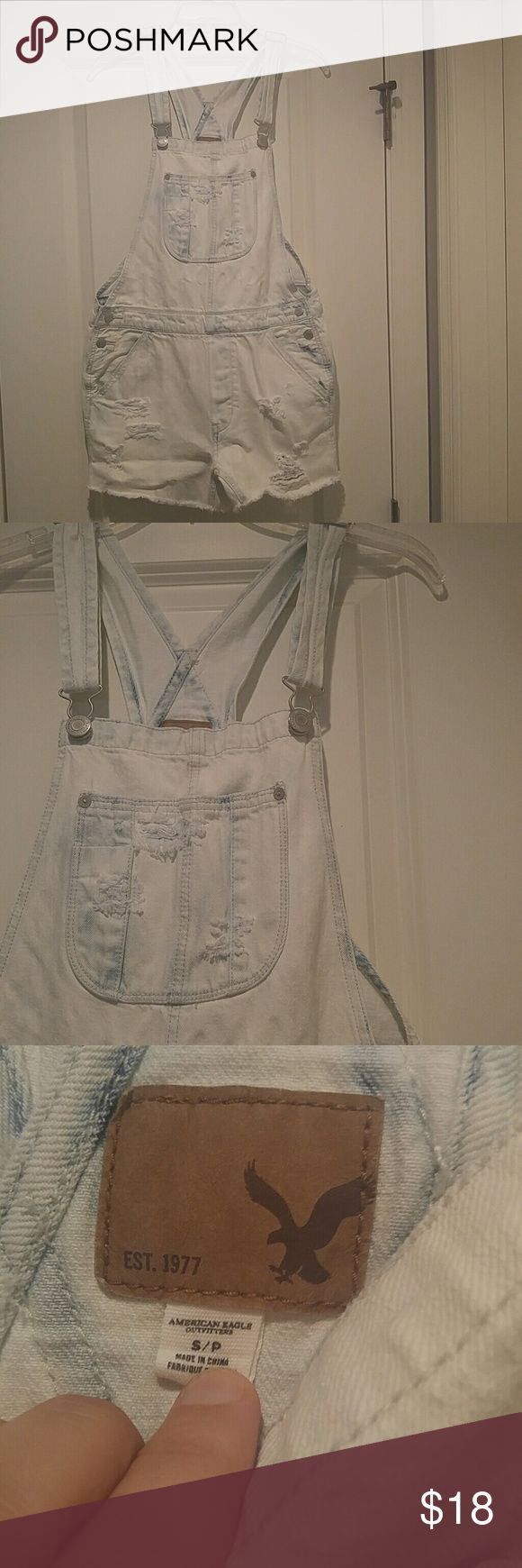 American eagle overalls White washed denim. Distressed. Excellent used condition. Size S American Eagle Outfitters Jeans Overalls