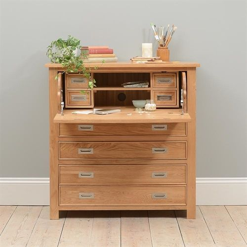 Home Furniture Delivery: Light Oak Hidden Bureau Including Free Delivery (610.039