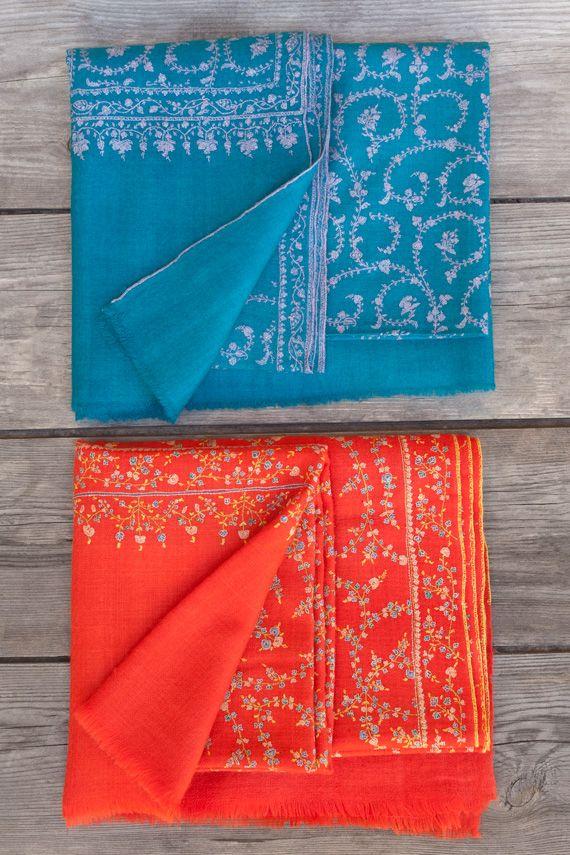 Trehearne & Brar Pashmina Shawls: lightly embroidered
