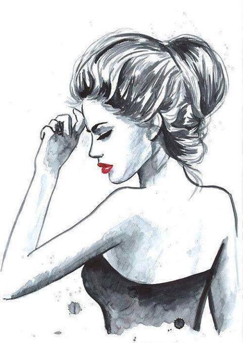 Zeichnen, Drawing, Zeichnung, Schwarz Weis, Rote Lippen, Crven Karmin, Lippenstift, Painting, Girl, Mädche, Devojka, Crna Haljina, Black Dress, Schwarzes Kleid, Lady, Crno i Belo, Black and White