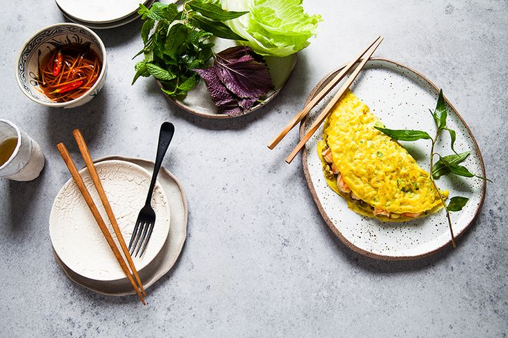 Making this Vietnamese coconut pancake can be tricky as you have to spread the mixture around the wok before it sets. Practice, but even if it doesn't come out perfect the first time, it will still taste delicious. #TheChefsLine