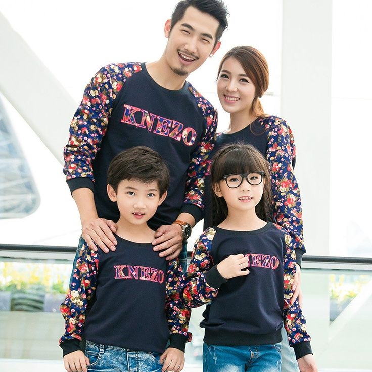 Family matching outfits autumn winter korean long sleeve flowers sweater fleeces velvet family look pullover dad and son clothes
