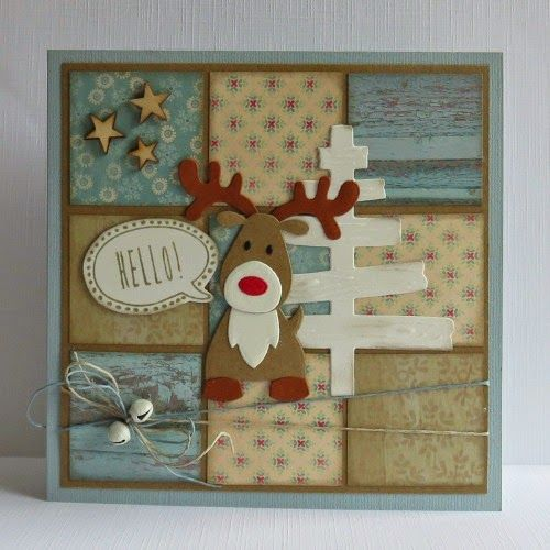 Card by Yvonne with Collectables Eline's Reindeer (COLL1369) and Craftables Eline's Wooden Tree (CR1230) by Marianne Design