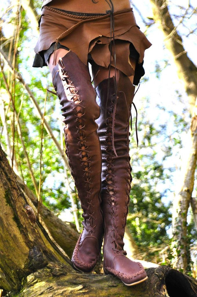 Elf leather brown clothes. Forest wood elves. Elven. Above knee High Leather Boots.