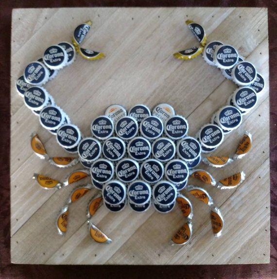 Corona Beer Bottle Cap Crab Etsy Diy Bottle Cap Crafts Bottle Cap Crafts Beer Bottle Cap Crafts