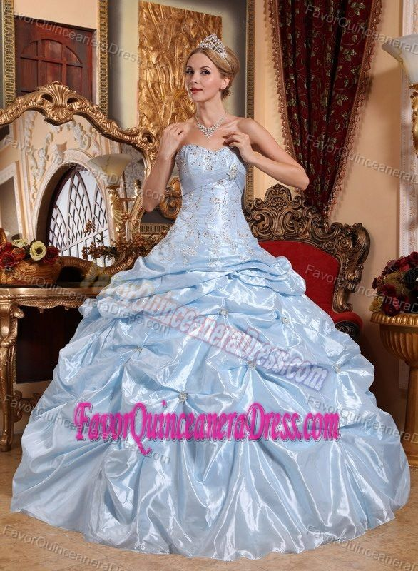 Perfect Baby Blue Taffeta Quinceanera Gown with Embroidery and Pick-ups