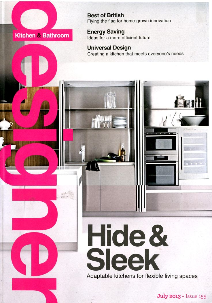 The Slim Kitchen by Elmar and available from Laurence Pidgeon gracing the cover of Designer Kitchen & Bathroom Magazine, July 2013
