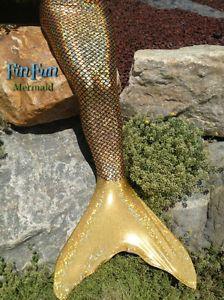 Mermaid Tail and Realistic Monofin-Golden Mermaid-Fin Fun Mermaid ...