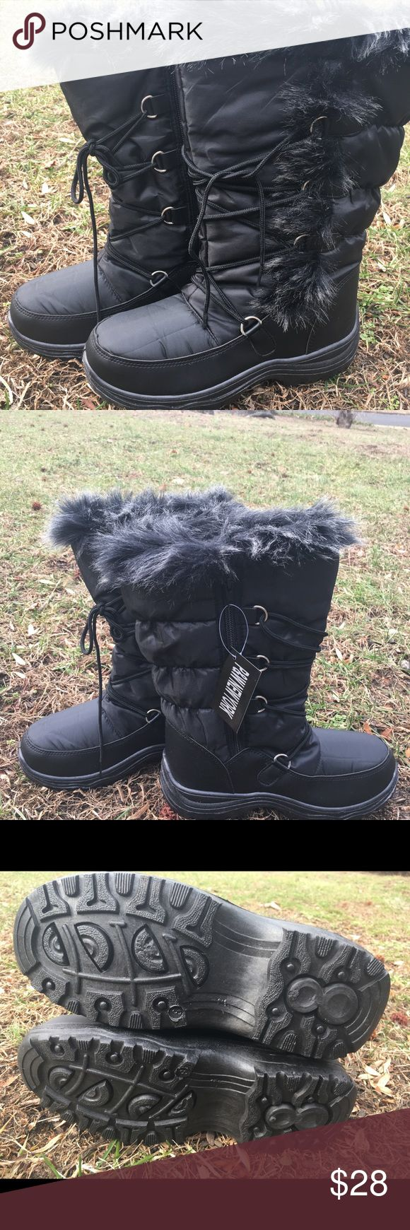 Black Lace-Up Winter Boots Never Worn Black Faux Fur Lace- Up Boots, New With Tags, Water-Resistant Shoes Winter & Rain Boots