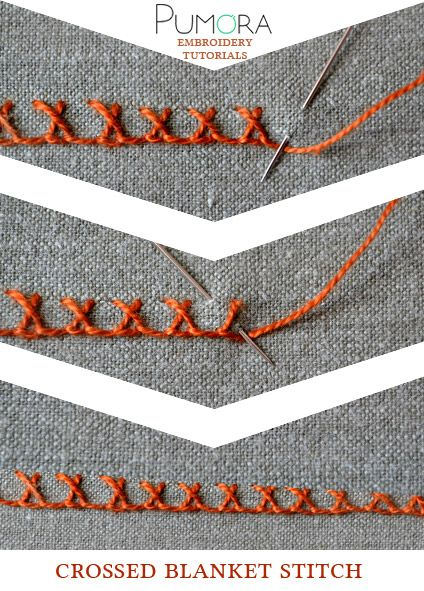 Pumora's embroidery stitch-lexicon: the crossed blanket stitch