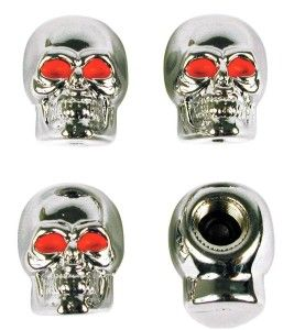 Chrome Skull Style Valve Cap What a unique  and awesome item. Fits most valve stems. For use on cars, trucks, motorcycles and bicycles.  http://awsomegadgetsandtoysforgirlsandboys.com/cute-easter-basket-ideas-boyfriend/ Chrome Skull Style Valve Cap