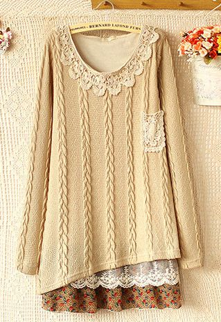 Lace Chiffon Spliced Knit Dress