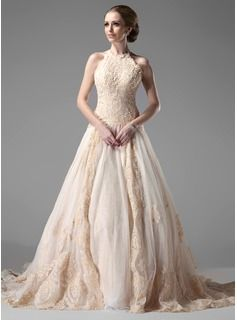 69acd628b4  US  286.99  Ball-Gown Halter Chapel Train Tulle Lace Wedding Dress With  Beading - JenJenHouse