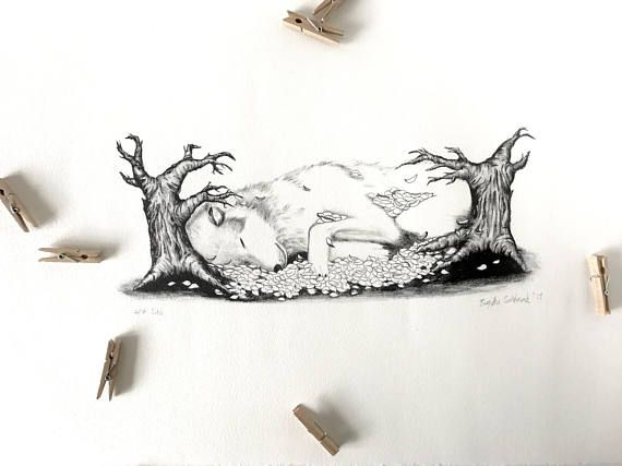 Sleeping giant wolf lithograph print // traditional lithograph