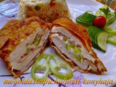 Rántott csirkemell sajttal, baconnal és csípős paprikával töltve http://megoldaskapu.hu/csirkemell-receptek/rantott-csirkemell-sajttal-baconnal-es-csipos-paprikaval-toltve A panírozáshoz: • finomliszt • tojás • zsemlemorzsa A sütéshez: • étolaj