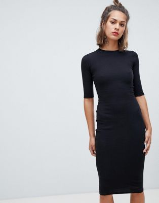 88c83f9c88ab Pull Bear long sleeve bodycon dress in black  27.00